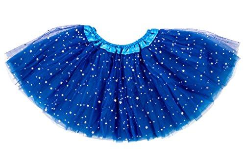 Dancina Mädchen Tüllrock Tutu Ballettrock Glitzer Sterne Blau Glitzer One Size (Anzug Elastische Taille Satin)