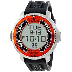 Sector Men's Digital Watch with LCD Dial Digital Display and Black Rubber Strap R3251967001