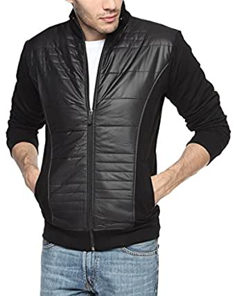 Campus Sutra Men's Quilted Cotton Jacket (AW15_JK_M_P12_BL_Black_Small)