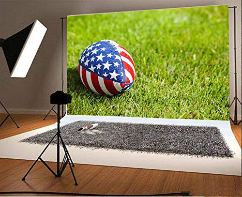 5 X 7 Rugby (Independence Day Background vrupi 7x5ft Vinyl Photo Backdrop Photography Rugby Ball Stars and Stripes Pattern Design Grass Field Souvenir Holiday Party Birthday Children Girls Adult Portrait)