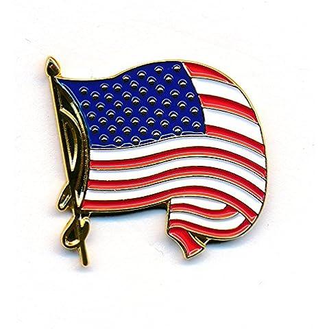 Svolazzanti che saluta Bandiera pulsante spilla metal-pin Pins Bandiera USA e 228