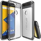 Funda Nexus 6P - Ringke FUSION [SMOKE BLACK]** Choque Absorción TPU Parachoques Protección Gota **[GRATIS Protector de Pantalla HD Incluido] Prima Cristal Claro Trasera Dura [Antiestático][Resistente a Arañazos] para Huawei Nexus 6P