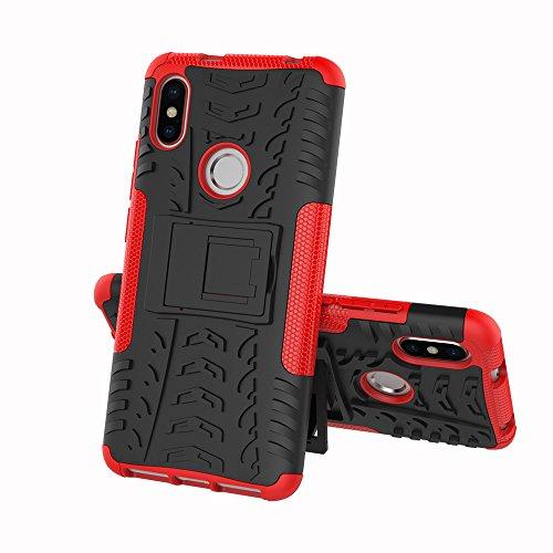 FullProtecter Funda Xiaomi Redmi S2 Grados Caso Caja Rojo, Anti-Choquesy Anti- Arañazos Silicona Case para teléfonos móviles Antigolpes TPU + Protector de Pantalla para Vidrio Templado