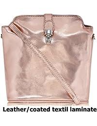 Genuine Italian Soft Leather or Ostrich Effect, Small Cross Body or Shoulder Bag Handbag