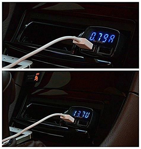 4in1 3.1A verdoppeln USB Car Charger, Senhai Tragbare Schnelle External Battery Pack Ladegerät Zigarettenanzünder mit blauer LED-Anzeige Kompatibel für die meisten Android / IOS / Windows Smart Handys, GPS, Tablets und andere USB-Geräte aufgeladen – Schwarz - 5