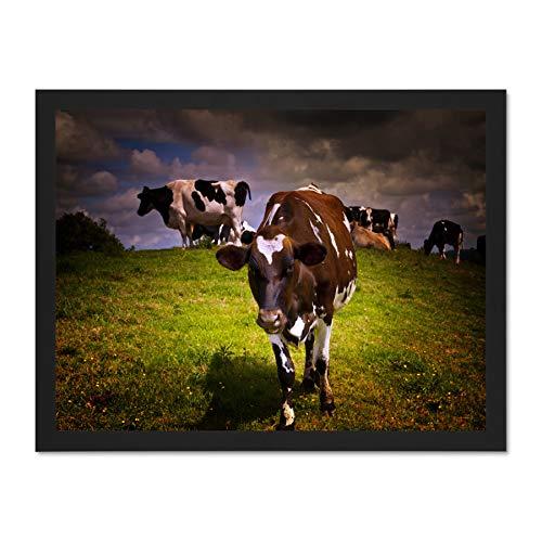 Doppelganger33 LTD Landscape Sunlit Cow Cattle Herd Grass Farming Art Large Framed Art Print Poster Wall Decor 18x24 inch Supplied Ready to Hang -