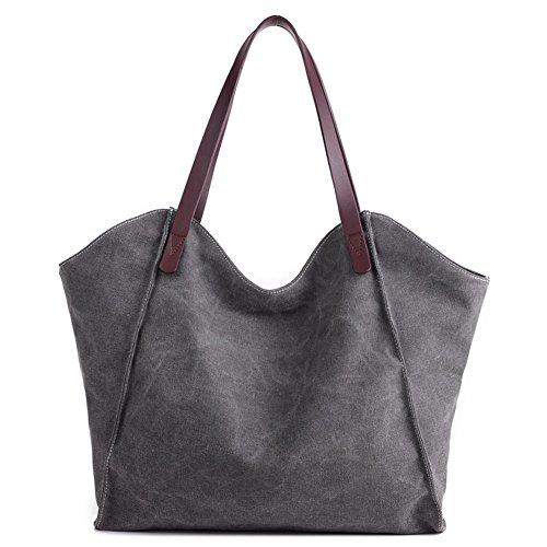 ParaCity Women's Simple Style Vintage Canvas Handbag Shoulder Bag Totes Shopper Hobo Bag For Women Girls Students (SIMPLE- Gray)