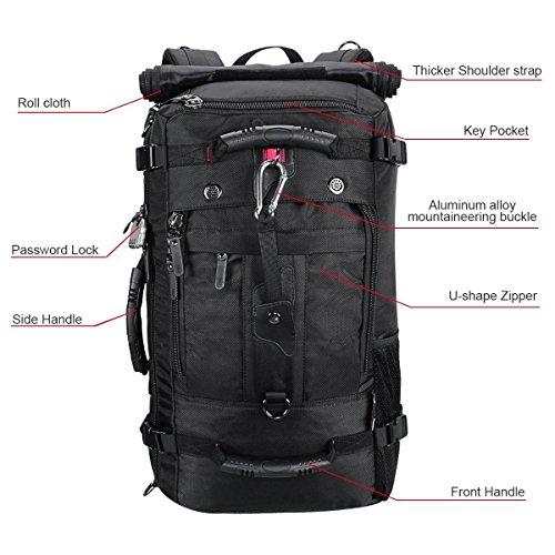 Zaino da escursionismo, capacità 40 litri, impermeabile, adatto per attività e sport all'aria aperta, come trekking, campeggio, viaggi, ma anche affari e attività militari, con chiusura con password., Black