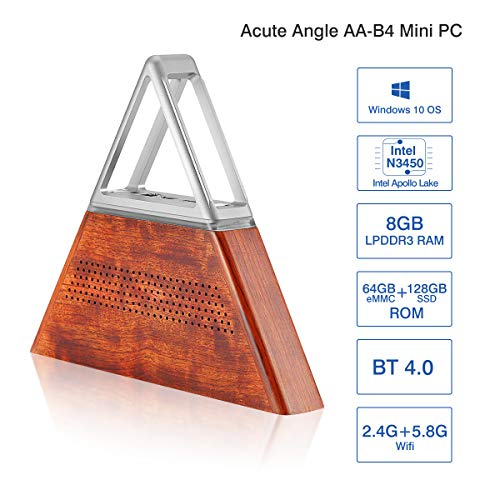 Acute Angle AA-B4 DIY Mini PC Ordinateurs Windows 10 8 Go de RAM+64 Go EMMC+128 Go SSD CPU:Intel Apollo Lake N3450 WiFi 2,4 G+5,8 G 1000Mbps 3xInterface USB3.0 BT4.0 Métal et Bois Argent Marron