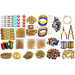 Silk Thread Jewellery Making Premium Quality Kit, 50 pair jhumka earring base with bali ring, Jewellery Making Materials,Full of Jewellery Making Items Including Stones & Beads, All Items set with Silk Thread, Zari Thread, Stone Ball & Tools (26 items)