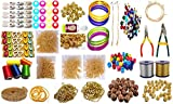 GOELX Silk Thread Jewellery Making Premium Quality Kit, 50 pair jhumka earring base with bali ring, Jewellery Making Materials,Full of Jewellery Making Items Including Stones & Beads, All Items set with Silk Thread, Zari Thread, Stone Ball & Tools (26 items)