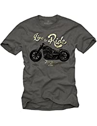 Vintage T-Shirt Moto Homme LIVE TO RIDE Gris S-XXL