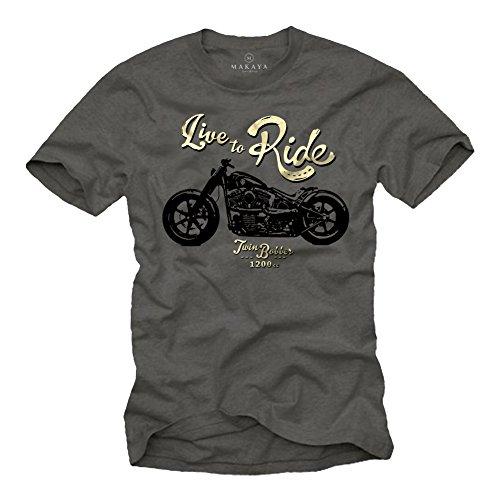 MAKAYA Live TO Ride - Maglietta Biker Uomo - Abbigliamento Moto - T-Shirt Custom Harley Evolution XXL
