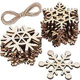 Hestya 50 Pezzi Fiocco di Neve in Legno per Artigianato del Legno Fai da Te Ornamenti per L'Albero di Natale Appendere Decorazioni di Natale con Le Stringhe