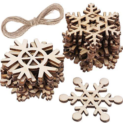 (Hestya 50 Stück Holz Schneeflocke für DIY Holz Handwerk Weihnachtsbaum Ornamente Hängend Weihnachtsschmuck mit Schnur)