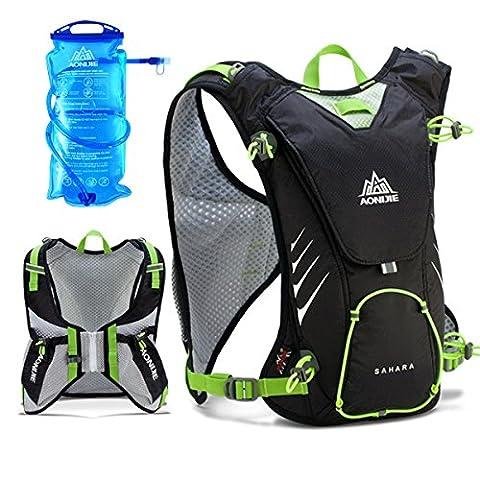 Geila Running Outdoor Hydration Backpack Pack Veste avec 1,5L de vessie pour faire du cyclisme Randonnée (Noir + 1,5L de