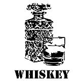 Wadeco Whiskey Kristall Wandtattoo Wandsticker Wandaufkleber 35 Farben verschiedene Größen, 93cm x 128cm, schwarz