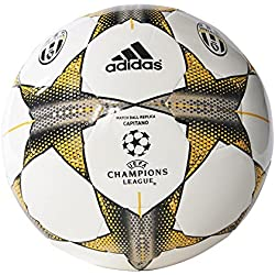 adidas Finale15Juvecap - Balón de fútbol, color blanco / gris / amarillo, tamaño 3