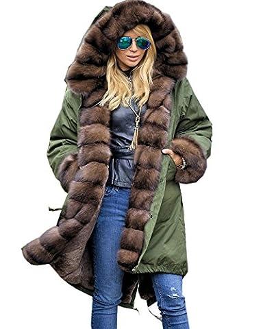 Roiii Frauen-Luxus-Winter-lange warme starke Parka Brown Cafe Faux-Pelz-Jacke mit Kapuze Mantel (38/40,