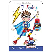 Jonny Javelin Boy Superhero Age 7 Birthday Card
