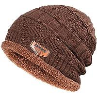 BLACK ELL Gorros de algodón de Punto para Hombres de otoño e Invierno cálidos y cómodos, además de Terciopelo THI, 7