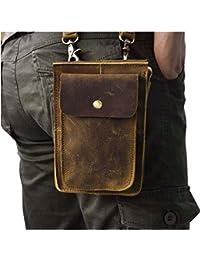 Le'aokuu Bolso-bandolera para hombre, piel auténtica, con cinturón para la cintura y el hombro, tamaño pequeño, estilo vintage