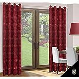 140x245 cm bordeaux weinrot burgunderrot Vorhang Vorhänge Blickdicht Fensterdekoration Gardine Ösenschal Pflanzenmuster wine-red burgundy-red VENUS
