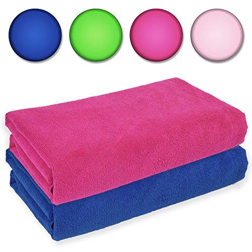 Belmalia 2 Asciugamani in microfibra XXL molto assorbente e ad asciugatura rapida 180 x 75cm Blu + Rosa Fucsia
