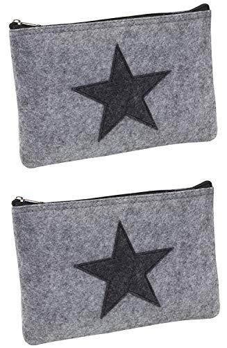 2 Tasche Mit Reißverschluss-tasche (Elegante Bankmappe Banktasche A5 Geldtasche Geldbeutel Etui für Geldscheine Filz mit Reißverschluss auch Stifteeui Kosmetiktasche (Grau mit Stern, 2er))