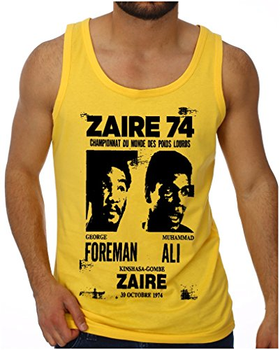 OM3 - ZAIRE74-FOREMAN-vs-ALI - Tank Top - Rumble In The Jungle Afrika Africa Heavyweight Boxing Fight Champion, L, Gelb (Heavyweight Tank Top Baumwolle)