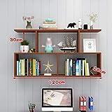 Wine Rack - Kreative Feste hölzerne Stabile Weinregal-Wand einfach zu Speichern Bücherregal Felice Home (Farbe : Teak, größe : 120 × 20cm)