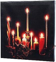 infactory LED Wandbild: LED-Leinwandbild Advent mit Kerzenflackern (Bild mit Kerzen)