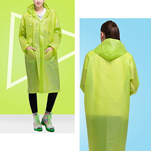 Zhhlinyuan Adult Outdoor Hiking Hooded Imperméable Unisex Light Weight Waterproof Rain Poncho green