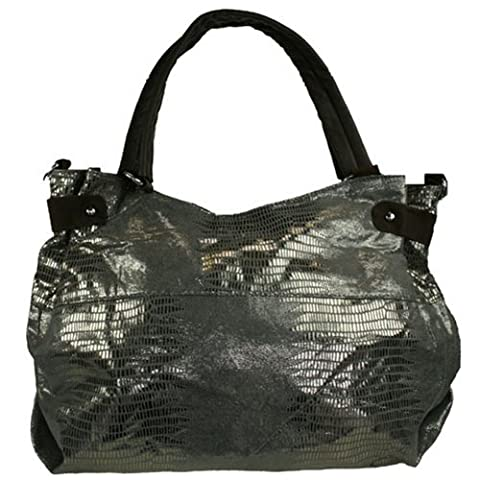 Fashion Handbag in Charcoal Reptile Print 904-H (CHARCOAL)