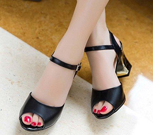 NobS Bocca dei pesci dei sandali fibbia Ampie Dimensioni scarpe tacco alto Black