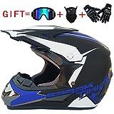 Aili Casque de Moto pour Enfant Motocross Cross Off-Road Noir Mat ATV Quad (Casque+Masques et Lunette+Gants),005,M