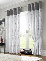 """Silver Grey White Floral Rose Trail Lined Voile 56"""" X 72"""" - 142cm X 183cm Ring Top Curtains & Tiebacks from Curtains"""