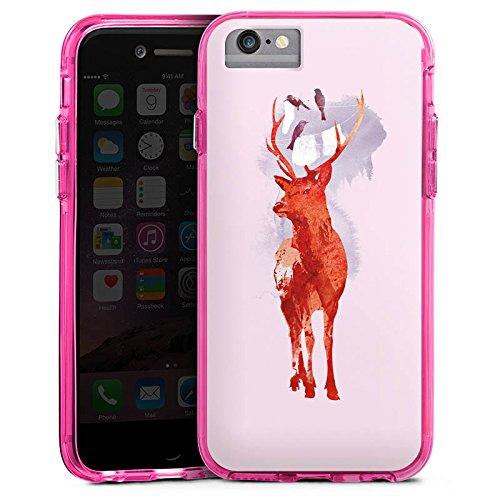 Apple iPhone 6 Bumper Hülle Bumper Case Glitzer Hülle Hirsch Deer Art Bumper Case transparent pink