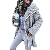 Riou Winterjacke Damen Mäntel Winter Warmer Hoodie Daunenjacke Lange Strickjacke Steppjacke Parka Kapuzenjacke Frauen Mode Langarm Hoodies Strickjacke Freizeitjacke Mantel (L, Grau)