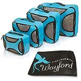 Packtaschen 5er Set: 4 Kleidertaschen + Wäschebeutel - Schuhtasche mit gratis e-Book - Extra leichtes Packwürfel Set nur 390g von Wayford - Aufbewahrungstasche - Kofferorganizer - Packsack