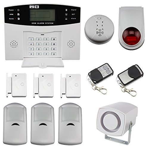 discoball  Wireless LCD Security Alarm GSM Autodial Home House Office Burglar Intruder Fire Alarm Siren PIR Motion Detector and Door/Window Gap Detector