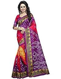 Purple Bhagalpuri Woven Saree With Blouse