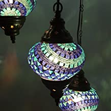Turque Marocain Style Tiffany Mosaïque De Verre Chandelier 3 Ampoule - B6 X 3 Ampoule CHAND