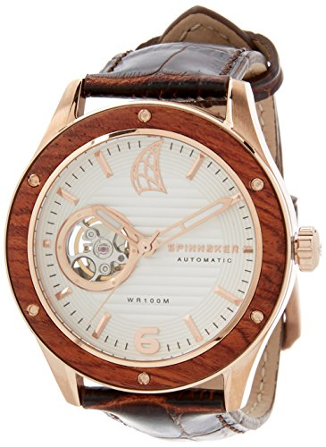 Spinnaker Sorrento Men's Automatic Watch with Wood Bezel and Silver White Dial Display on Brown Genuine Leather Strap SP-5034-02