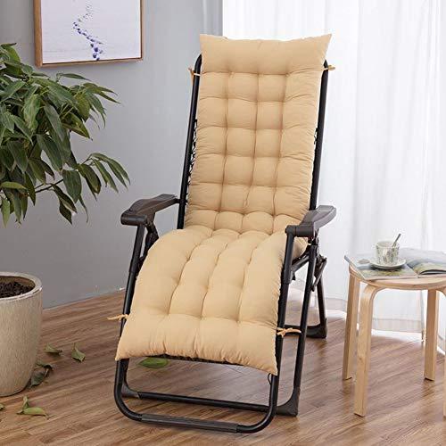 Chaise Lounge Kissen, Getuftet Bench Kissen Mit Krawatten Patio Long Chair Kissen Recliner Pad Kissen Outdoor Polsterauflage Sitzkissen Stuhlkissen-Creme Farben 48x155cm(19x61inch) -