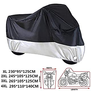 ANFTOP Outdoor Waterproof Motorcycle Cover Heavy Duty 210D Thicker Fabric Heat Resistant Dust Proof Anti UV Rain Protective For Indoor Outside Storage Motorbike Scooter Cover Lockable XXXL Large 3XL