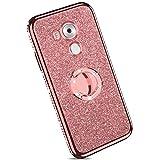 YSIMEE Compatibile Cover Huawei Mate 8,Custodie Trasparente Brillantini Glitter Anti-Giallo con Rinforzato Placcatura TPU Silicone Protettivo Morbida Ultra Sottile Antiurto Case con Anello,Oro Rosa