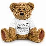 Large Gift Wrapped Personalised Wedding Favour Page Boy, Bridesmaid, Flowergirl Teddy 23cm tall in sitting position
