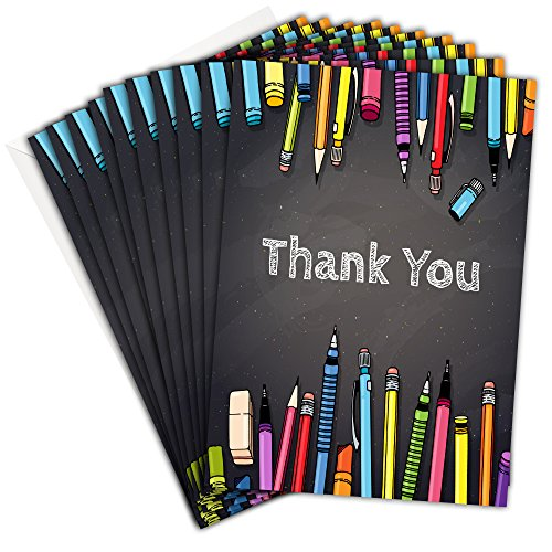 Olivia Samuel Teacher Thank You Cards - Chalkboard Folding Style with Envelopes (Pack 10)