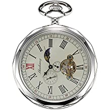 treeweto mecánica relojes de bolsillo plata números romanos hombres cadena de cara con abierto 24HORAS luna Sol + caja de regalo